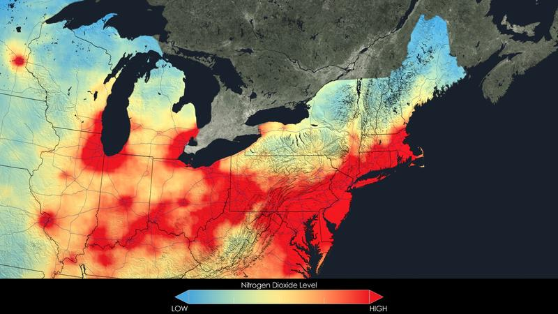 2005 average nitrogen dioxide concentrations for the Northeast.