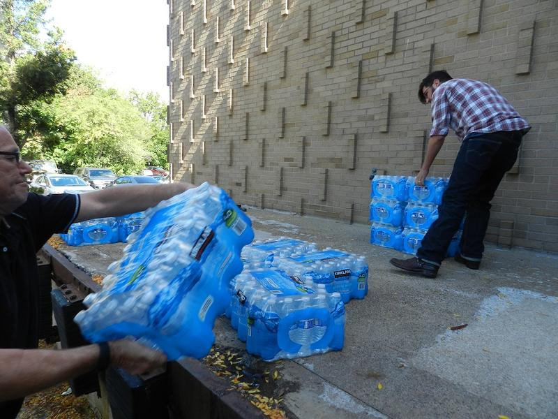 People can donate bottled water to residents in Flint.