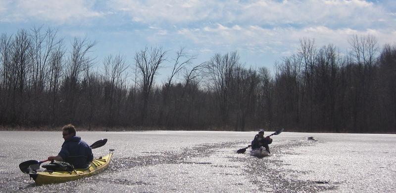 Kayaking on a freezing lake