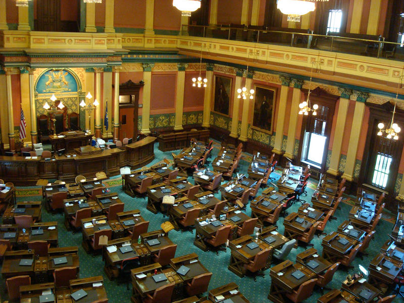 Inside the Michigan House of Representatives.