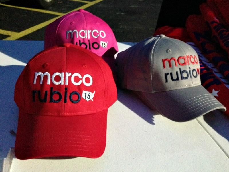 Baseball hats with Marco Rubio campaign logo