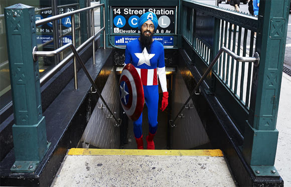 Vishavjit Singh as Sikh Captain America in New York City