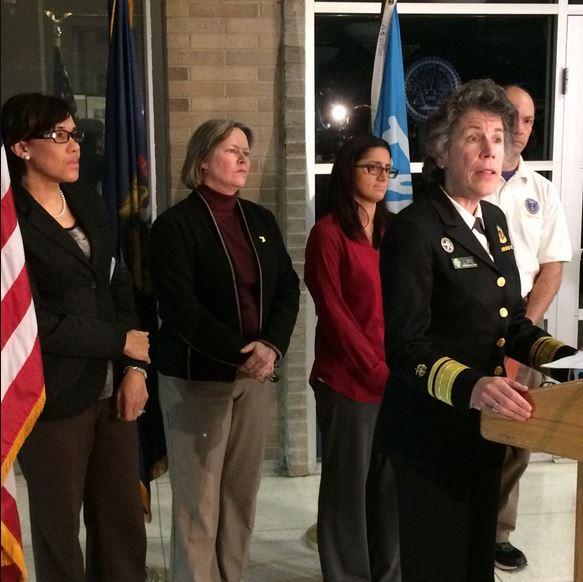 Dr. Nicole Lurie makes an announcement about lead testing results in Flint. She is leading the federal response in Flint for the Department of Health and Human Services.