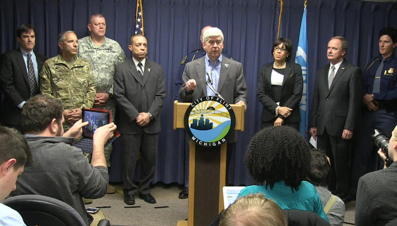 Governor Snyder speaking at a Flint water press conference on January 27, 2016.