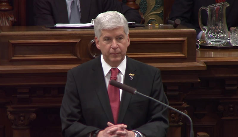 Gov. Rick Snyder delivering his 2016 State of the State speech.
