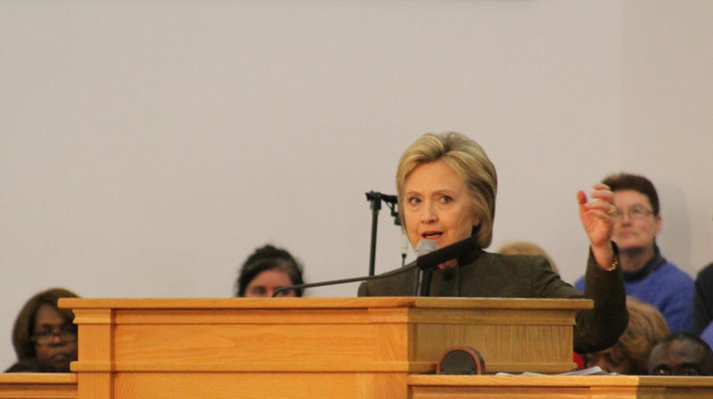 Hillary Clinton speaking at the House of Prayer Missionary Baptist Church in Flint on Sunday.
