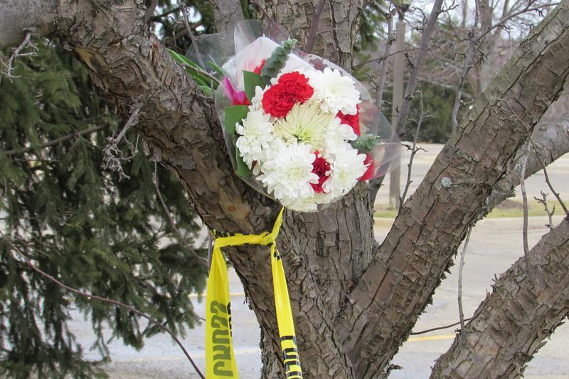 File photo: A makeshift memorial near one of the shooting scenes in Kalamazoo, a Cracker Barrel restaurant.