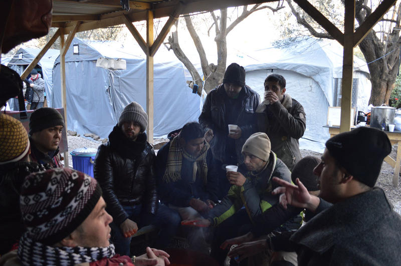 A refugee camp on the Greek island of Lesbos