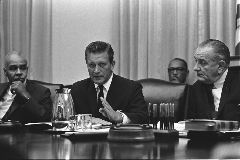 Chair of the National Advisory Commission on Civil Disorders, Otto Kerner with President Lyndon Johnson.