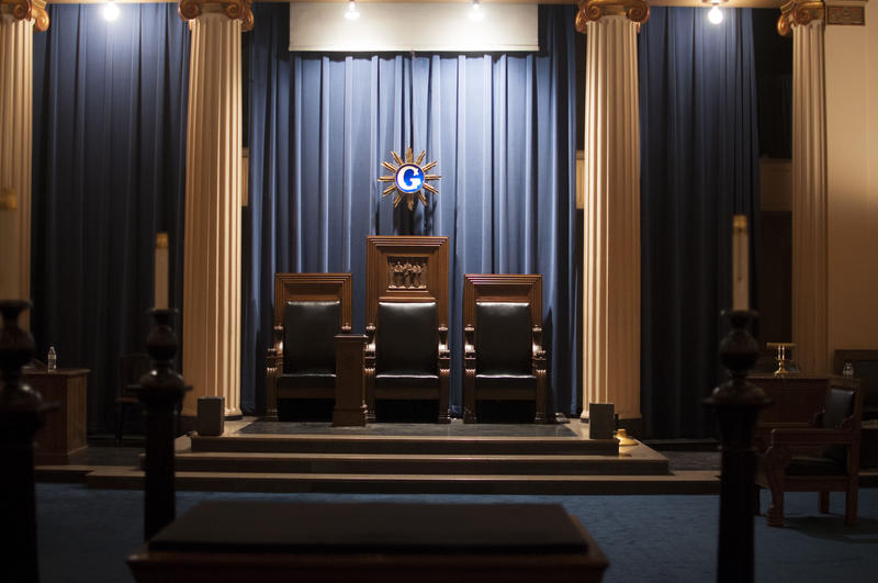 This is what a lodge room inside the Masonic Temple looks like. Here is where masons meet for things like ritual meetings. The G stands for geometry, Snider said. Not God, like everyone thinks.