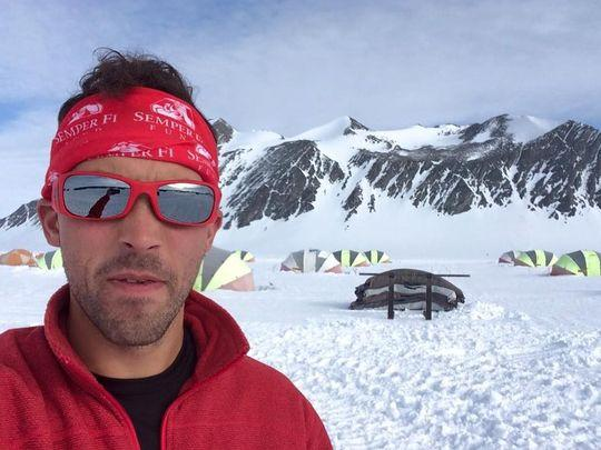 Grand Ledge native Calum Ramm at the first leg of the World Marathon Challenge in Antarctica.