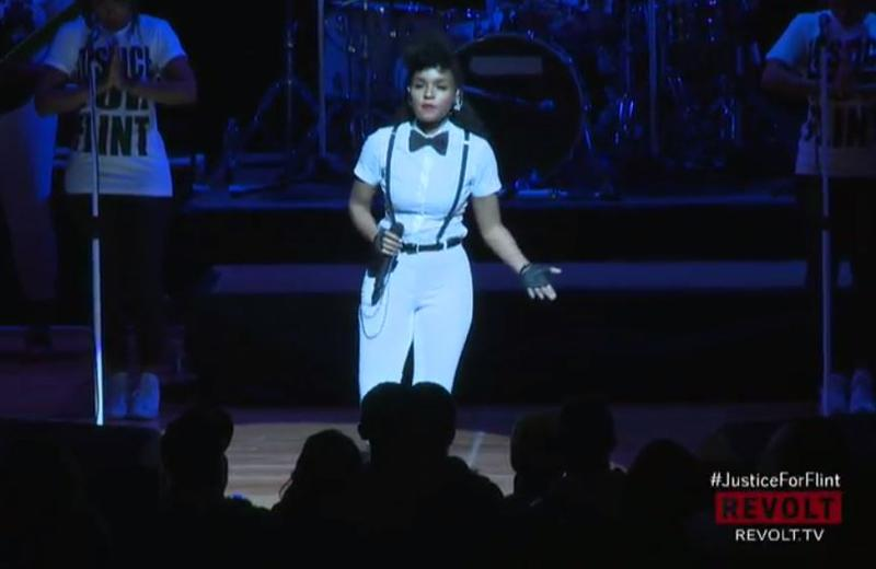 Janelle Monae performs at the #JusticeforFlint event at The Whiting.