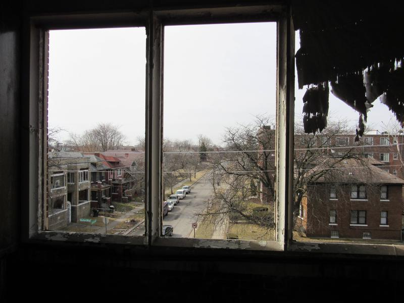The view of the neighborhood from the library of the closed Hutchins Intermediate School.