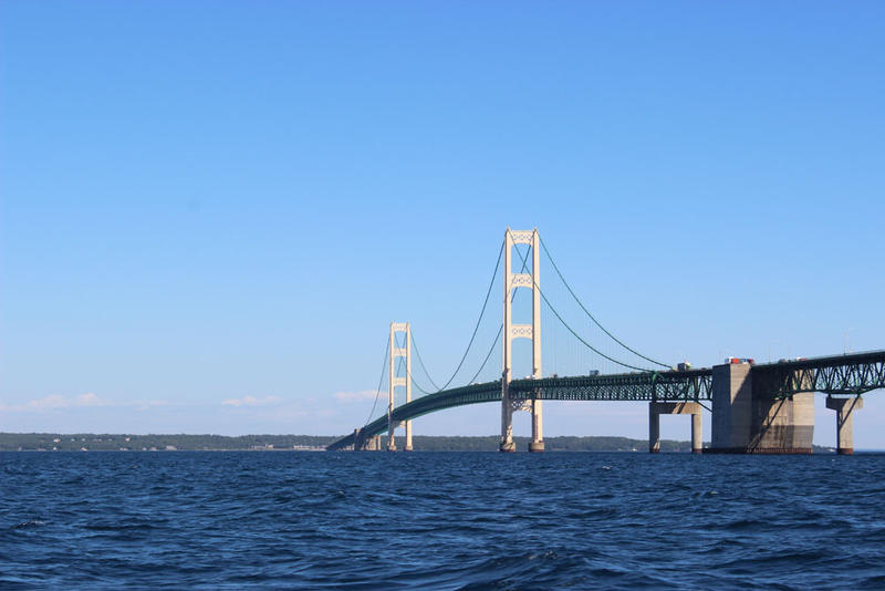 Enbridge Energy's Line 5 oil and liquid natural gas pipelines run under Lake Michigan at the Straits of Mackinac.