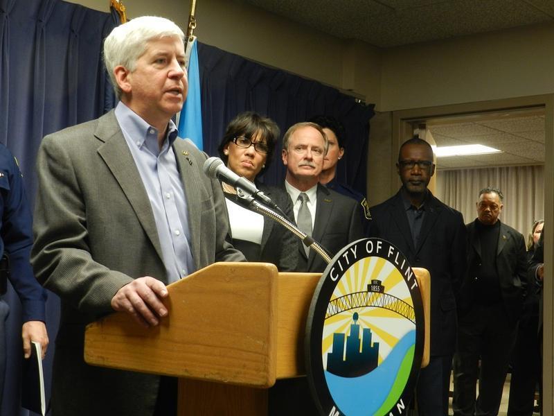 Gov. Snyder speaks at a Flint news conference.