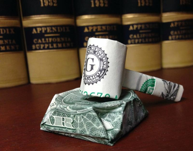 Gavel made from dollar bill