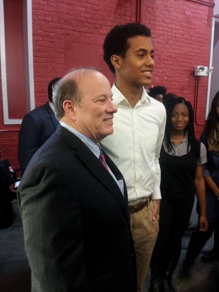 Detroit Mayor Mike Duggan with students at the Detroit Promise Zone scholarship announcement.