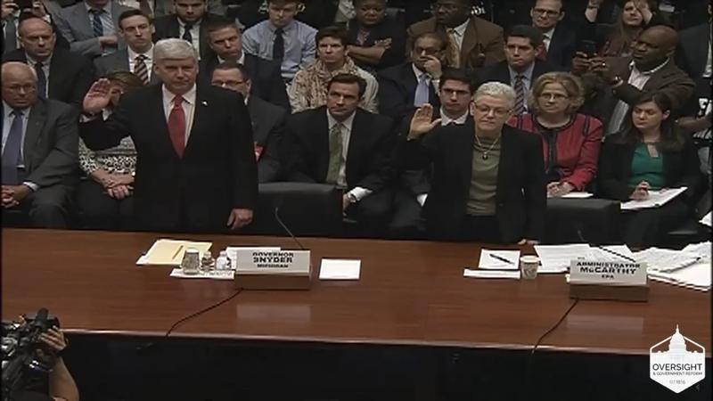 Michigan Gov. Rick Snyder and EPA Administrator Gina McCarthy were sworn in before their testimony in Congress on the Flint water crisis on March 17, 2016.