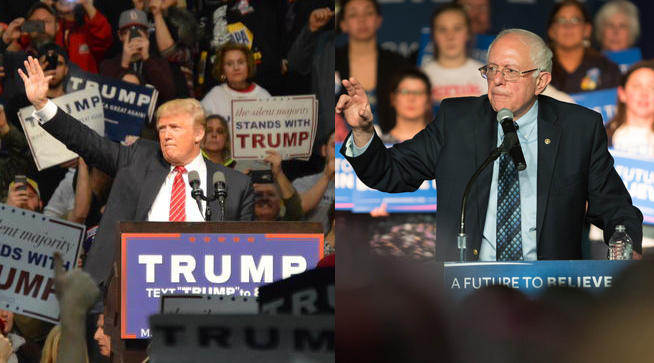 Donald Trump in Warren and Bernie Sanders in Traverse City.