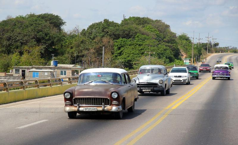 Traffic on the road from Varadero to Havana.