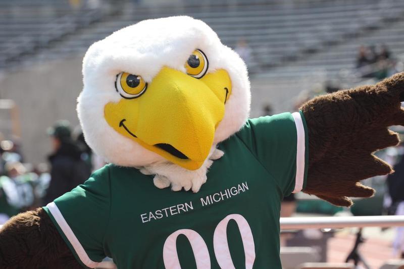 """EMU's mascot, """"Swoop."""""""