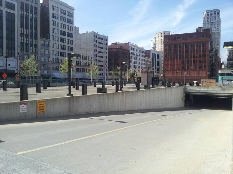 The former Hudson's site, prime real estate along Woodward in the heart of downtown Detroit, has been a city-owned underground parking garage since the Hudson's building was demolished in 1998.