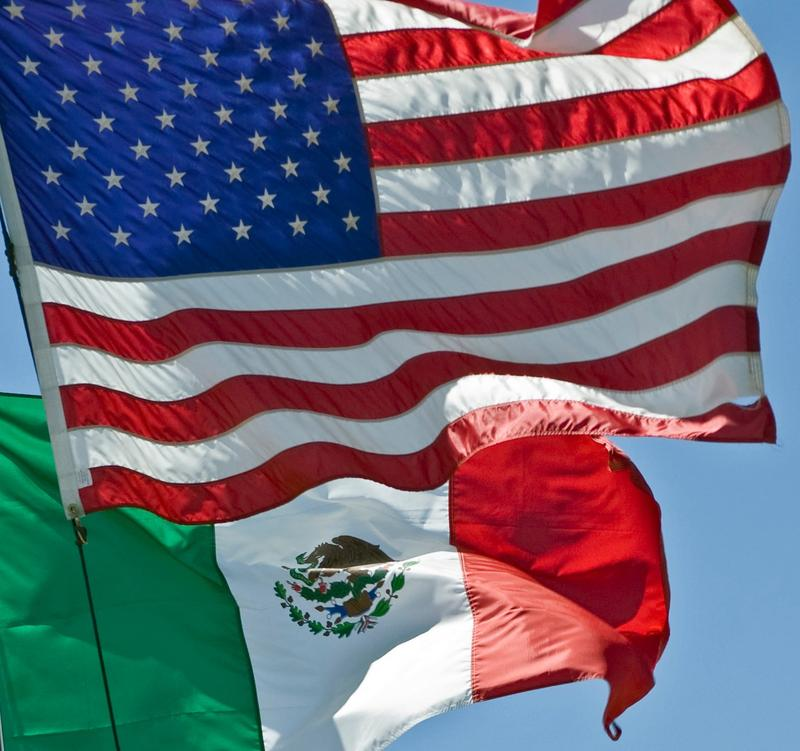 Mexican and U.S. flags