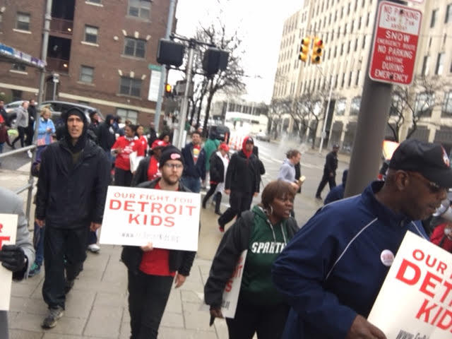 Detroit teachers protesting downtown on May 2, 2016.
