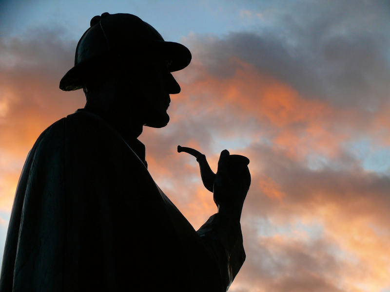 sherlock holmes character in silhouette