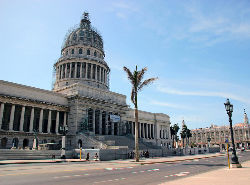 Havana's Capitol building under construction is loosely modeled after the U.S. Capitol building in Washington D.C.