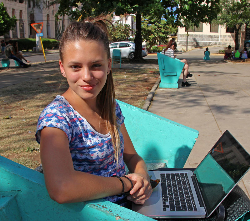 Carolina Rodriguez Mazpule comes to this park in Havana to get online.