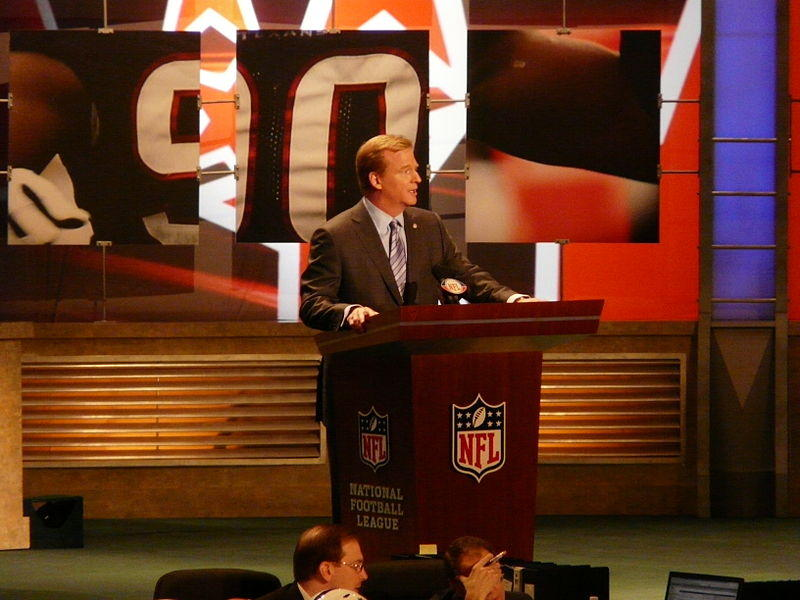 National Football League commissioner Roger Goodell at the podium at the 2009 NFL Draft, at the Radio City Music Hall, New York City.