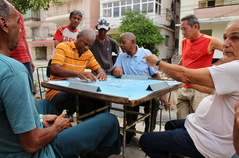 A game of dominoes in the Vedado neighborhood of Havana.