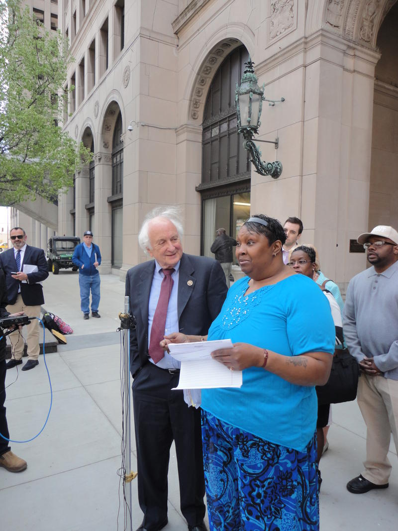 Blanche Jackson, right, with Rep. Sandy Levin. Jackson successfully appealed a finding of unemployment fraud, but the state still says she owes $4000.