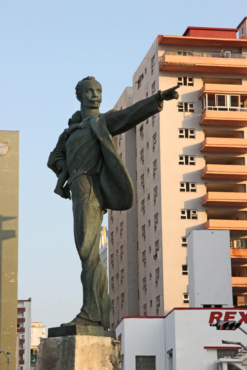 Statue of Jose Marti carrying a child points to the U.S. Embassy in Havana. The child is believed to represent Elian Gonzalez.
