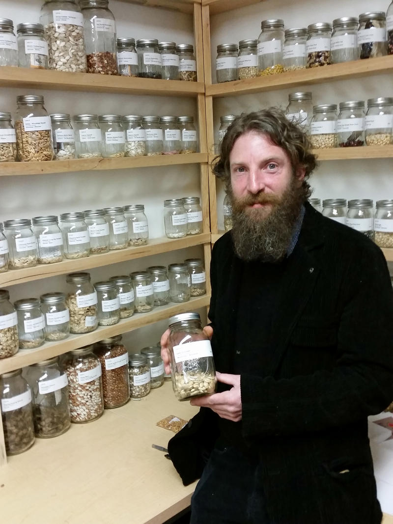 Kevin Finney, executive director of the Jijak Foundation, in the seed library.
