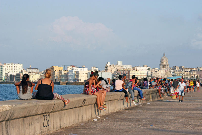 A favorite pastime in Havana: hanging out at the waterfront.