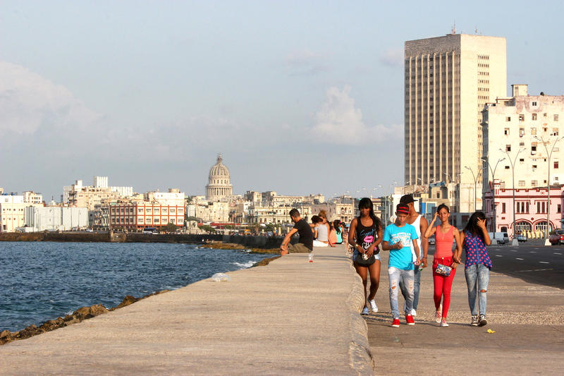 The Malecón is a long promenade, roadway and seawall that stretches 5 miles in Havana, Cuba.