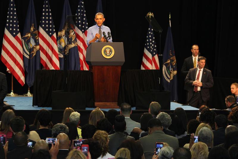 President Barack Obama talks to a crowd at Northwestern High School in Flint, Michigan on May 4, 2016.