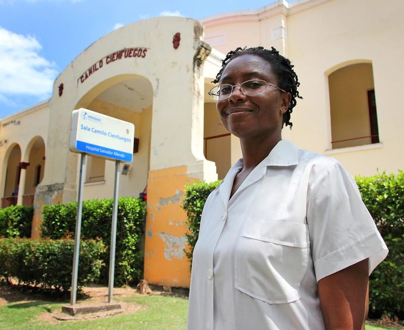 Samantha Moore of Detroit at Salvador Allende Hospital in Havana