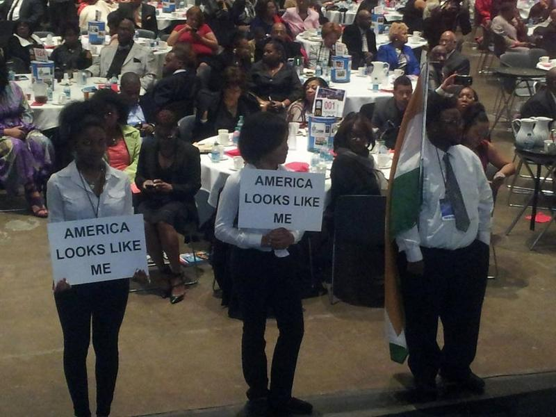 Student performers at the Detroit NAACP Freedom Fund dinner.