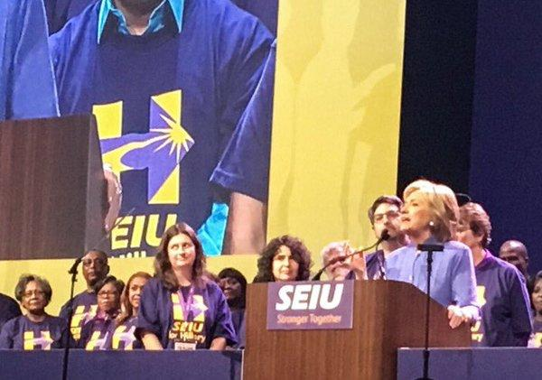 Hillary Clinton address the 2016 SEIU international convention at Detroit's Cobo Center.
