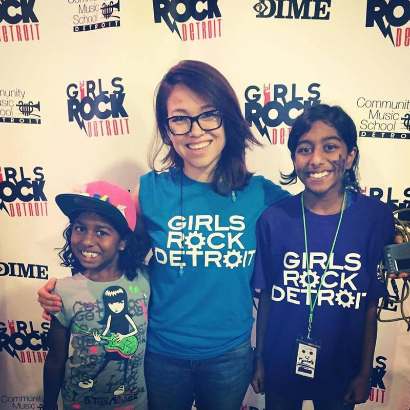 Girls Rock Detroit co-founder Melissa Coppola (middle) with campers Leela (left) and Meera