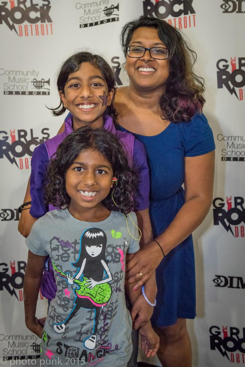 Meera Ramaswami (middle) and her family at Girls Rock Detroit