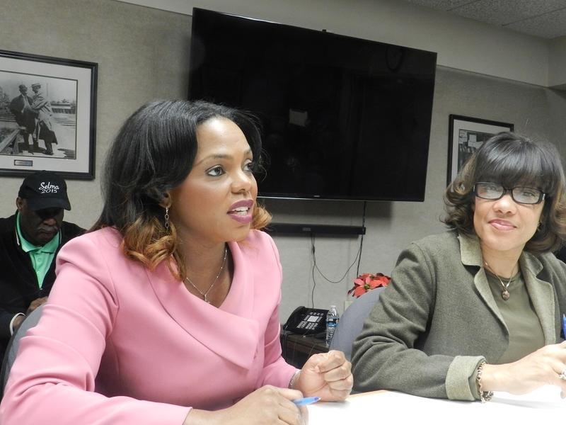 Former Flint city administrator Natasha Henderson (left) is suing the city and Mayor Karen Weaver for wrongful termination. She was relieved of her duties in February.