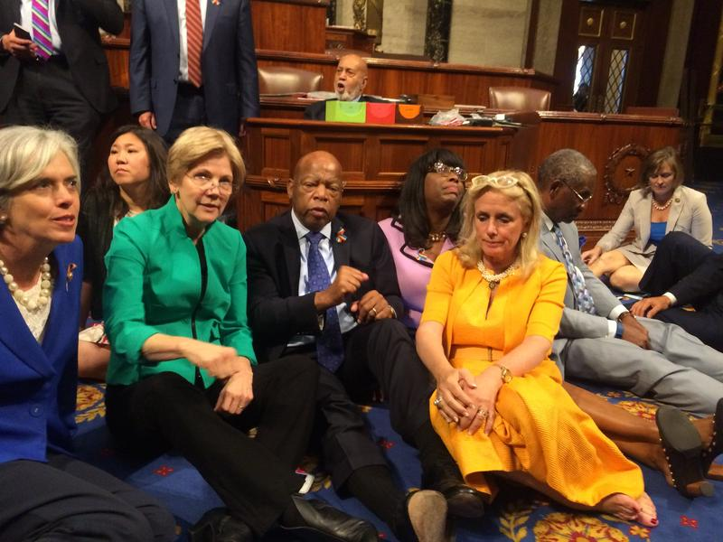 Rep. Debbie Dingell (right) of Michigan's 12th Congressional District participated last night in a sit-in protesting legislative inaction on gun control. Also pictured: Representatives Catherine Clark and John Lewis and Senator Elizabeth Warren.