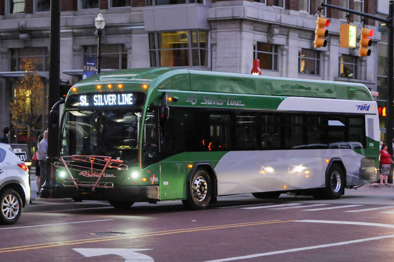 A silver line bus in Grand Rapids, Michigan.