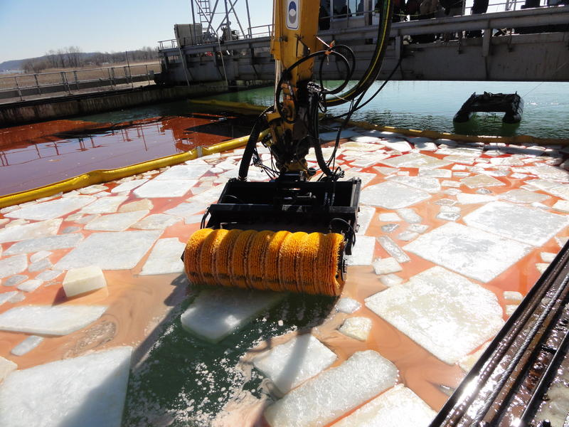 "An ""arctic brush system"" that can be used to clean up oil spills in Michigan's winter weather."