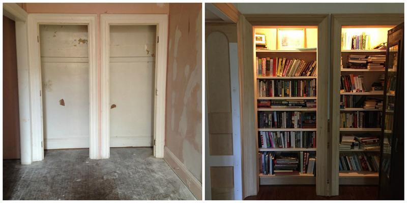 On the left, a worn-out closet from when Haimerl and her husband first moved in. After renovations, it became a bookshelf, seen right.