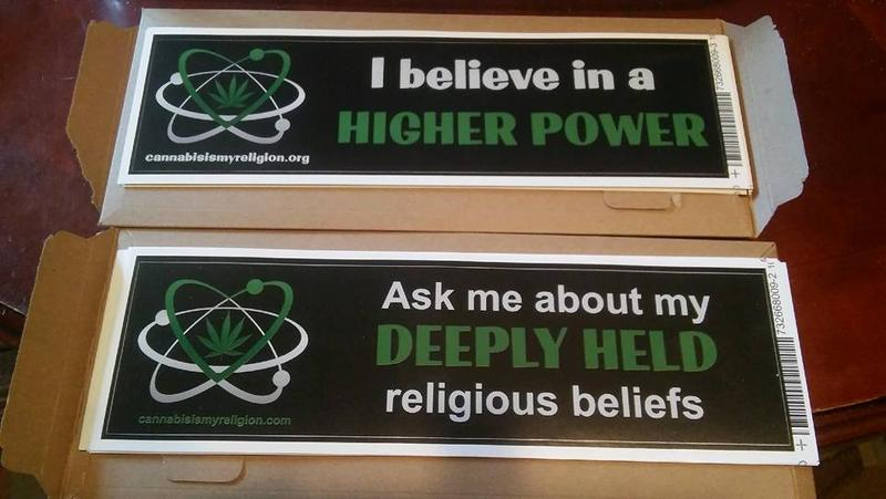 The First Cannabis Church of Logic and Reason uses bumper stickers to spread their message.